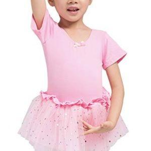 Girls Short Sleeve Sparkle Tutu Leotard Dress